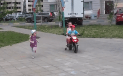Kid on an electric bike teach us how to pick up girls