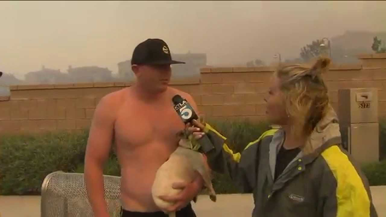 Courtney asks to shirtless guy about the fire